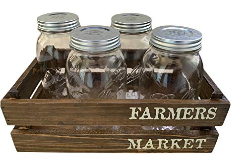 Ball Anniversary Edition Mason Jar, Quart 32 Oz (Set of 4) W/Chalkboard Labels and Farmer's Market Wooden Crate