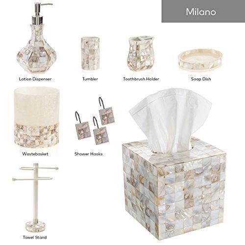 Creative Scents Milano Hand Soap Dispenser, Countertop Decorative Lotion Pump, Sink Shower Dispensers, For Elegant Bathroom Decor, Mother of Pearl