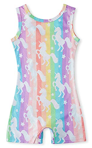 Rainbow Unicorn Gymnastics Leotards for Little Girls 4t Kids Sparkly Biketards Unitards with shorts One-Piece Practice Outfit with Starry 4-5 T Stripe Pink