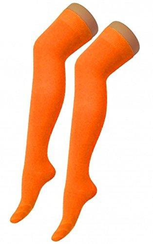 Orange Bow Socks - Ladies Mens Girls Boys Stripe Argyle Referee Check Lycra Cotton Plain Bow Ankle Over The Knee Socks (Foot Size 4-6, Orange)