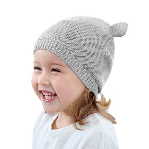 Cutegogo Baby Infant Earflap Beanie Hat Toddler Boys Girls Winter Warm Crochet Cap with Ear (10-24M, Gray1)