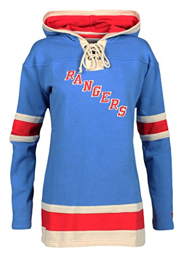 Old Time Hockey NHL New York Rangers Henrik Lundqvist Women's Player Lacer Name & Number Hoodie, Medium, Royal