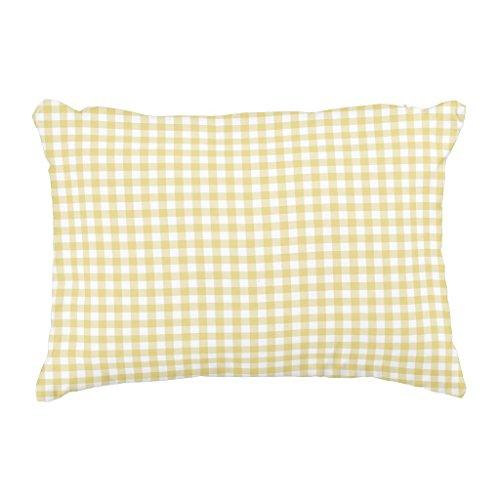 Zazzle Custard Yellow Gingham Pattern Accent Pillow