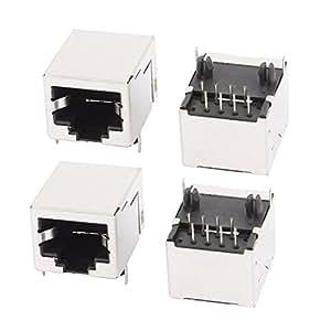 Sourcingmap–® 4piezas RJ458P8C PCB Jack Horizontal Montaje Conectores Ethernet)