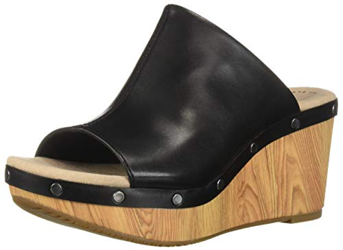 CLARKS Women's Annadel Molly Wedge Sandal, Black Leather, 070 W US