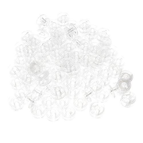 KLOUD City®100pcs Clear Plastic Sewing Machine Flat Bobbins/Empty Wire Spool