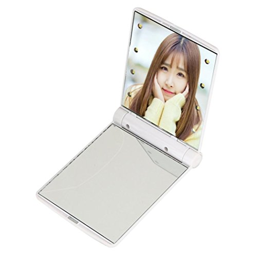 Pocket Makeup Mirror With LED Light (White) - 3
