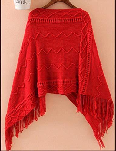 Chaud Poncho Tricot YOGLY Hiver Crochet Veste Pochon au Frange avec Pull au qnvZS4