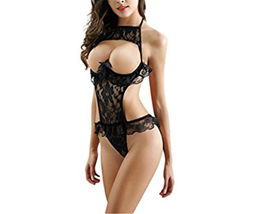 [CoKate Women's Lace Lingerie Bodysuit Body Dolls Black] (Chinese Doll Halloween Costume)