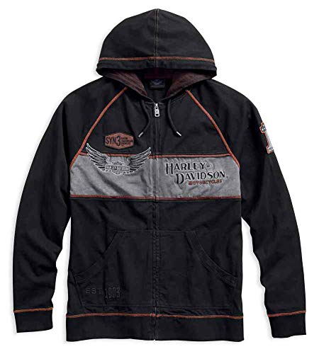 Harley-Davidson Men's Iron Block Distressed Zippered Hoodie 99000-17VM (2XL)