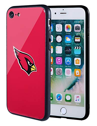 Sportula NFL Phone Case - 9H Tempered Glass Back Cover and Silicone Rubber Bumper Frame Compatible Apple iPhone 8 / iPhone 7 (Arizona Cardinals)