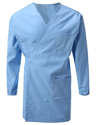 (7 Encounter Unisex Multifuctional Wrap Smock with Chest and Side Pockets Light Blue Size L/XL)