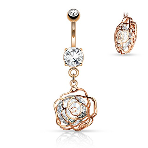Large CZ Incased Camellia Flower Dangle 316L Surgical Steel Belly Button WildKlass Navel Rings (Sold by Piece)