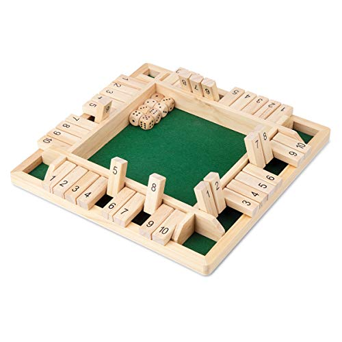 (ROPODA 4-Way Shut The Box Dice Game (2-4 Players) for Kids + Adults [4 Sided Large Wooden Board Game, 8 Dice + Shut-The-Box Rules] Smart Game for Learning Numbers, Strategy + Risk Management)