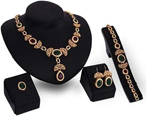 ZHBSS Conjunto de Joyas de Piedras Preciosas Collar Pendientes Pulsera Aleación Conjunto de Cuatro Piezas