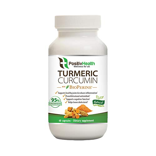 Organic Turmeric Curcumin Supplement with BioPerine 60 Capsules | Joint and Muscle Pain Anti Inflammatory and Antioxidant | Standardized to 95% Curcumin Extract | 100% Natural Turmeric Capsules
