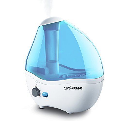 PurSteam Ultrasonic Cool Mist Humidifier - Choice Humidifying Unit with Whisper-Quiet Operation, Automatic Shut-Off, Night Light Function, and 17 hours Operating Stretch