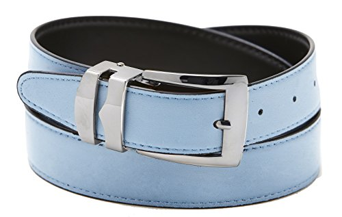 Silver Tone Buckle (Reversible Belt Bonded Leather Removable Silver-Tone Buckle SKY BLUE / Black)
