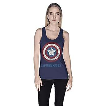 Creo Captain America Tank Top For Women - Xl, Navy
