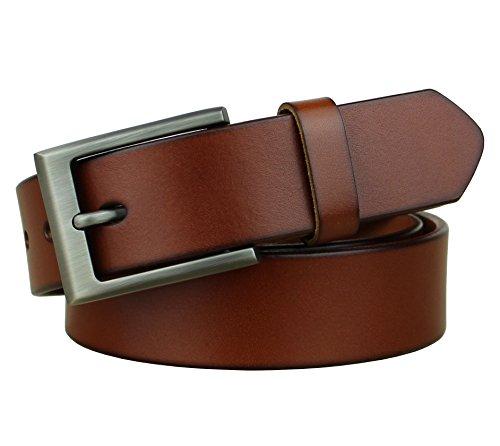(Bullko Mens Genuine Leather Dress Casual Belt 1.25 Classic Buckle Brown 34-36)
