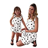 Franterd Mommy & Me Mom & Baby Parent-Child Sleeveless Polka Dot Prin Strap Family Matching Summer Mini Dress