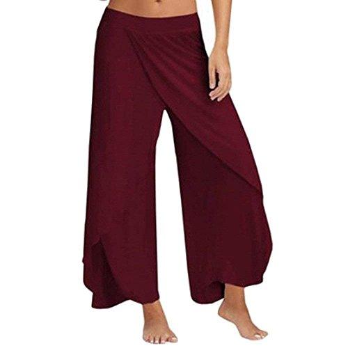 Chiffon Donne Yoga Pantalone Estivi Fashion Palazzo Monocromo Unique Donna Libero Tempo Whiterot Gonna Spacco Eleganti Classiche Baggy Pantaloni X41gawx