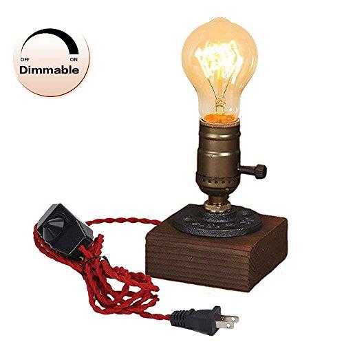Danish Oak Oil (Handmade Wooden Table lamp Desk lamp Table Light Bedside lamp Wooden lamp Present Dimmable Night Light Scandinavian Wood lamp Edison Bulb)