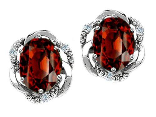 Tommaso Design Oval 8x6mm Genuine Garnet Earrings 14 kt White Gold