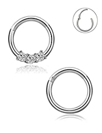Blinst 16G 2PCS 316L Stainless Steel Nose Rings Hoop Septum Clicker Ring Cartilage Tragus Piercing 8MM