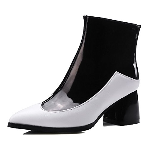 Allhqfashion Women's Assorted Color PU Kitten-Heels Zipper Pointed Closed Toe Boots White GePQBp