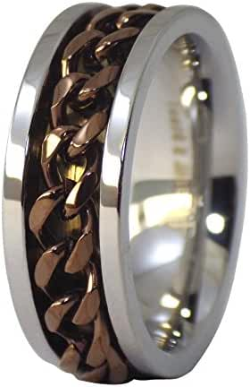 Fantasy Forge Jewelry Surgical Stainless Steel Coffee Chain Worry Spinner Ring Size 7-17