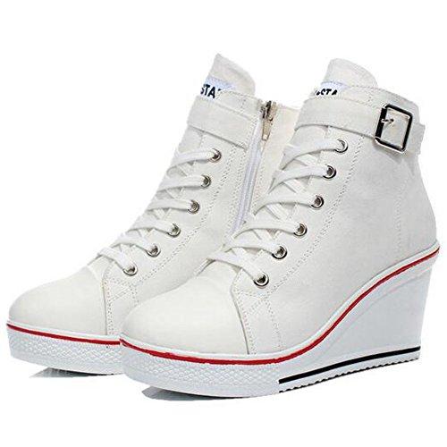 Damen Mädchen Canvas Sportlich High Top Keilabsatz Schnalle Laufschuhe Keilabsatz Schuhe Größe 35 - 43 Weiß