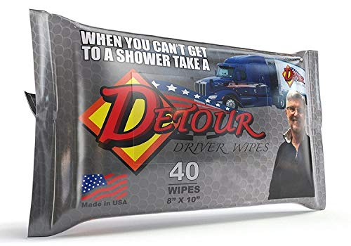Detour Body Wipes for Men, Aloe Vera Body Wash Wet Wipes, Alcohol Free Unscented Face and Hand Cleaning Wipes, Perfect Camping and After Work or Workout Shower Wipes (40 Count)