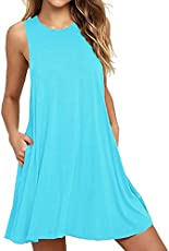 8f278d1d71d81 AUSELILY Women s Sleeveless Pockets Casual Swing T-shirt Dresses ...