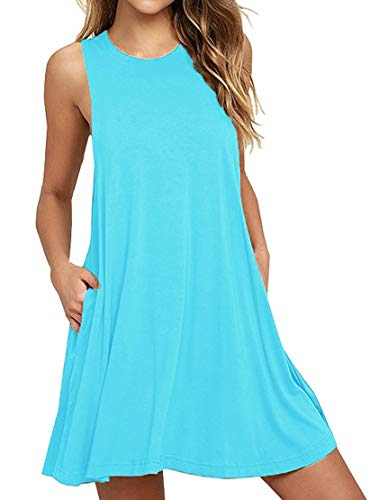 HAOMEILI Women's Sleeveless Pockets Casual Swing T-Shirt Summer Dresses (Medium, Nile Blue)