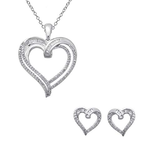 - Jewelili Sterling Silver 1/2cttw Baguette and Round White Diamond Heart Pendant Necklace and Earrings Jewelry Set