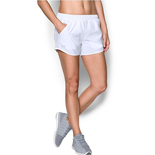 Under Armour womens Fly By Running Shorts, White (100)/Reflective, Small