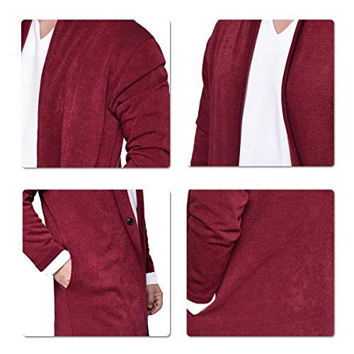 Et Bouton Confortable Rouge Avec Sliktaa Chaud Un Homme Hiver Automne Chic Casual Manteu Mode qxxt1Un6