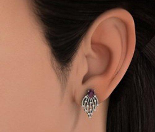 14K Or blanc 0,3CT TW White-diamond (IJ | SI) et améthyste Boucles d'oreille à tige