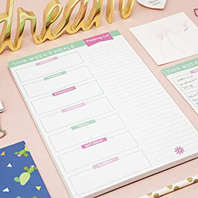 "bloom daily planners Weekly Meal Planning Pad - Magnetic Menu Planner with Perforated Tear-Off Grocery Shopping Lists - 6"" x 9"""