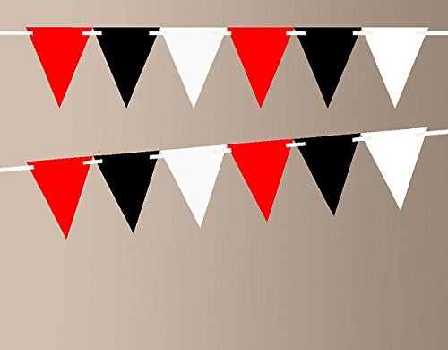 Red Bling Black Shimmer White 10ft Vintage Pennant