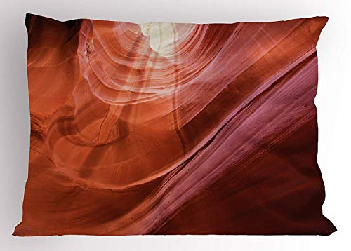 Emiqlandg USA Decor Pillow Sham, Nature Theme Inside of The Antelope Canyon in Arizona Digital Image, Decorative Standard Queen Size Printed Pillowcase, 30 X 20 inches, Orange Red and Yellow