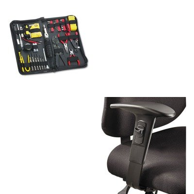 KITFEL49106SAF3399BL - Value Kit - Safco Optional T-Pad Adjustable Arms for Alday 24/7 Task Chair (SAF3399BL) and Fellowes 55-Piece Computer Tool Kit in Black Vinyl Zipper Case (FEL49106) Office Chair Tpad Arms