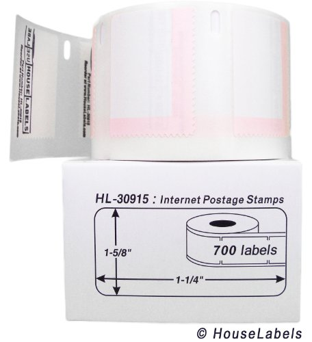 "DYMO-Compatible 30915 Internet Postage Labels (1-5/8"" x 1-1/4"") -- BPA Free! (6 Rolls; 700 Labels per Roll)"