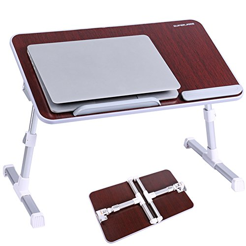 Portable Laptop Table by Superjare | Foldable & Durable Design Stand Desk | Adjustable Angle & Height for Bed Couch Floor | Notebook Holder | Breakfast Tray - Rosewood Color