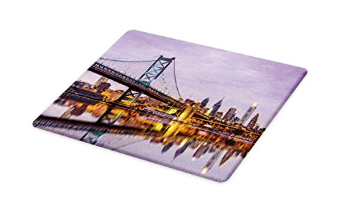 Lunarable USA Cutting Board, Ben Franklin Bridge and Philadelphia Skyline Setting Sun Reflections on Water, Decorative Tempered Glass Cutting and Serving Board, Large Size, Lilac Orange Yellow