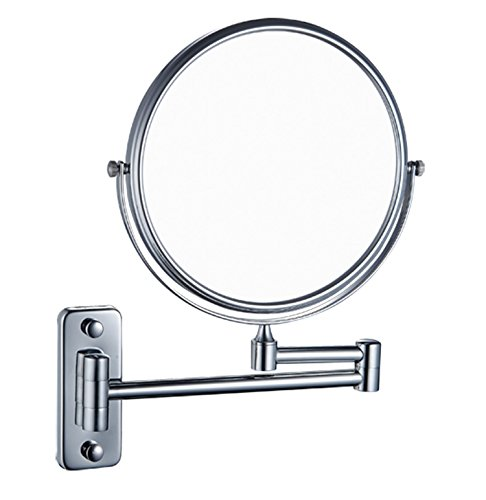 IBeaty Bathroom Mirror 8 inch Wall Mount Makeup Mirror Double-Sided Face Mirror, Swivel Vanity Mirror 1x and 7x Magnification Polished Chrome Finished by IBeaty