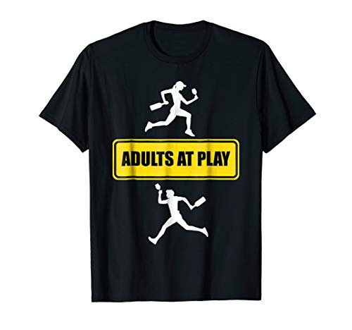 Adults at Play Yellow Caution Road Sign Wine Humor T-Shirt