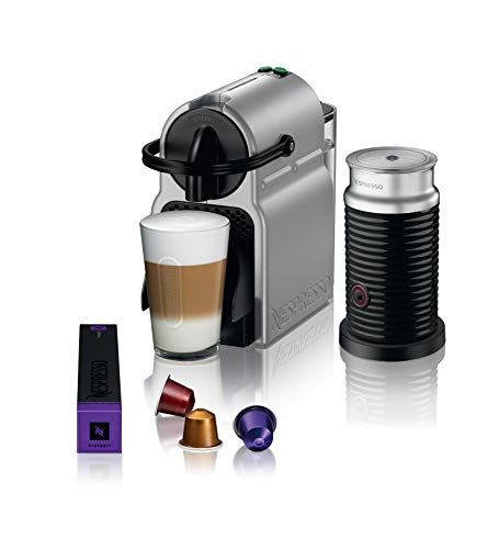 Large Product Image of Nespresso Inissia Original Espresso Machine with Aeroccino Milk Frother Bundle by De'Longhi, Silver