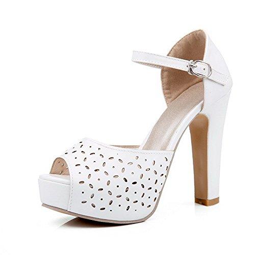 AmoonyFashion Womens Buckle Peep Toe High Heels Pu Solid Sandals White EO5pB